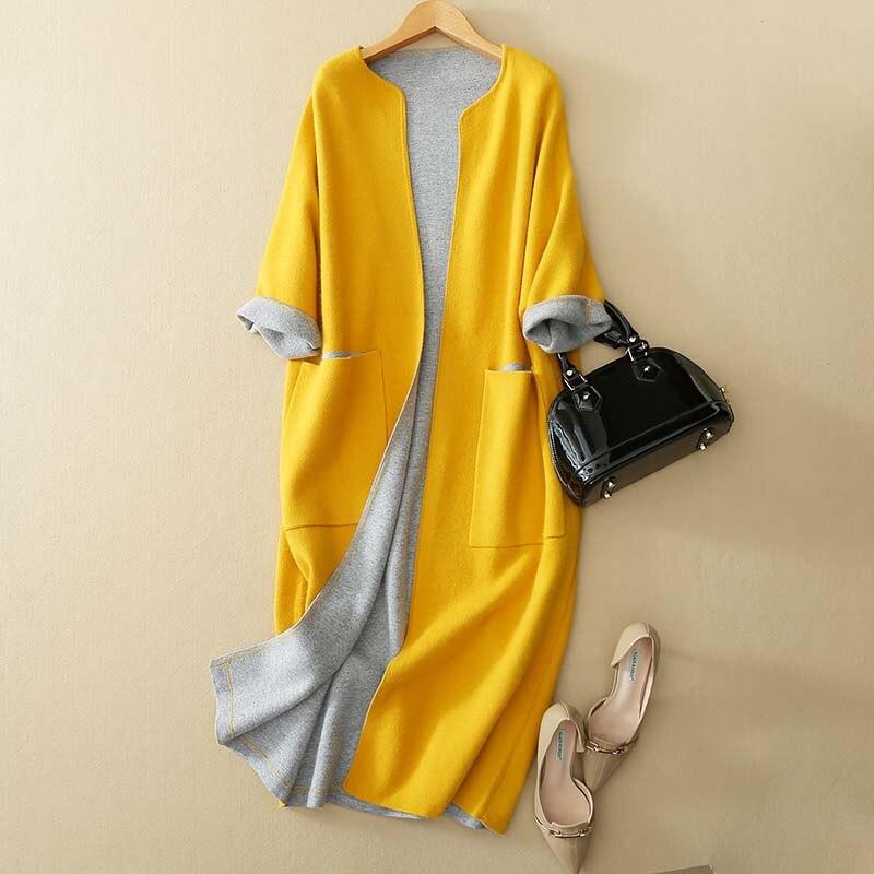 red Rond Mélange navy Mode Vintage Classique Collor yellow Contraste Grey Nouveau Laine 2018 Col Longue Manteau Kwa240 Femmes Outwear XaCWw7