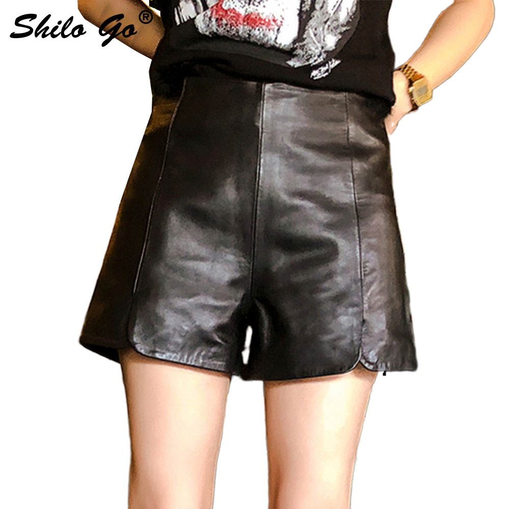 Leather Shorts Womens Spring Fashion Sheepskin Genuine Leather Shorts High Waist Concise Lady Office Wide Leg Shorts