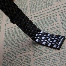 Nueva Venda de Reloj Mujeres Hombres 16mm 18mm 20mm 22mm 24mm hebilla de Correa de reloj de Metal Banda Reloj de Acero Inoxidable Negro Extremo Recto pulsera