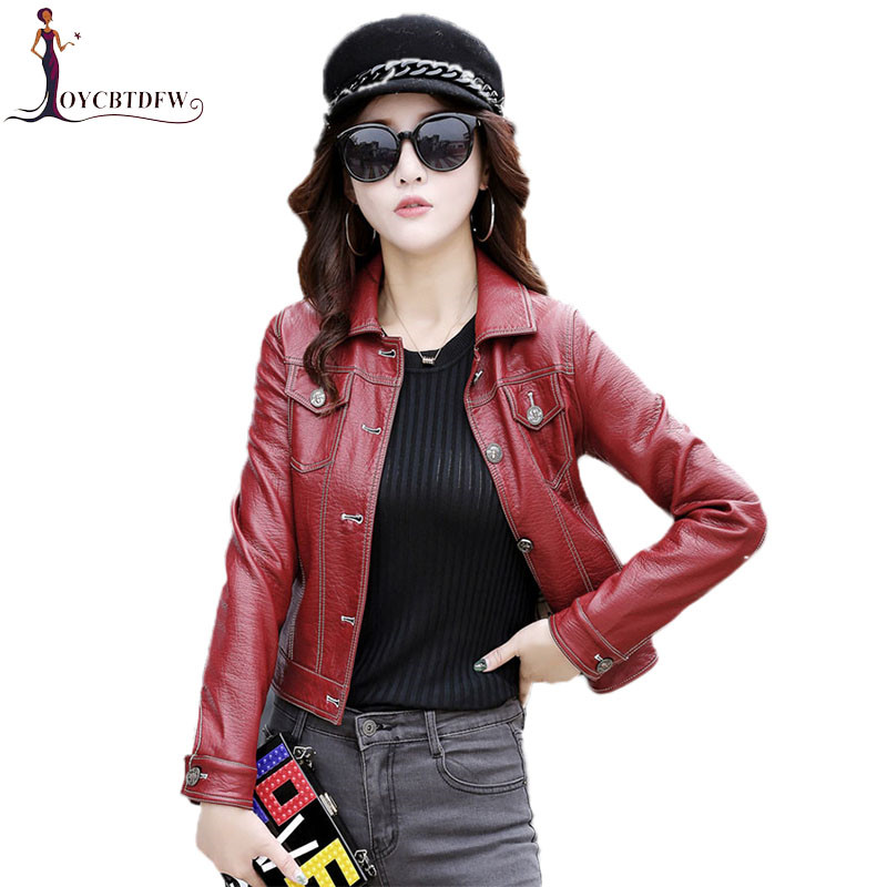 Genuine Leather Jacket Large Size M-4XL Autumn Women Single-breasted Jacket Fashion Casual Slim Ladies Leather Jacket FASHION483