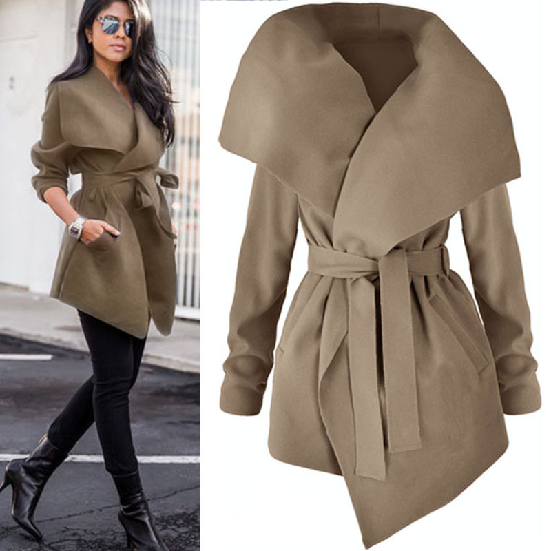 Women Lapel Belt Trench Coat Elegant Lace Up Woolen Long Coat Outerwear Spring Autumn Fashion Windbreaker Cardigan Overcoat