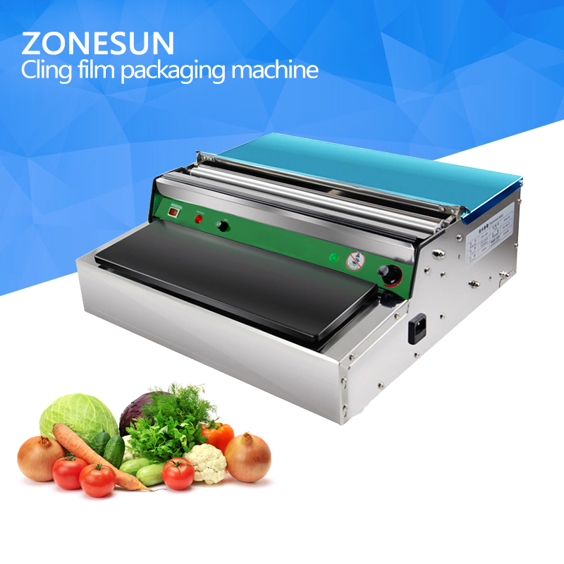 ZONESUN Stainless steel cling film sealing machine,Food fruit vegetable fresh film wrapper, cling film sealer packaging plastic wrap machine supermarket vegetables and fruits cling film da baoji plastic film cutting machine 220v mw 450 1pc