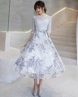 c568a797 Elegant Fashion Women Silver Short Prom Dresses 2019 Top Lace Prom Dress  Scoop Tulle Embroidery Evening. Elegante moda mujer plata corto vestidos ...