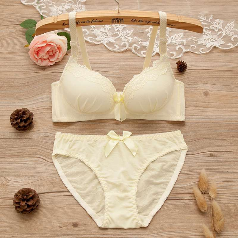 Fashion Bow Lace Sexy Deep V-neck Push Up Underwear hot-selling Vintage Solid Color   Bra     Set