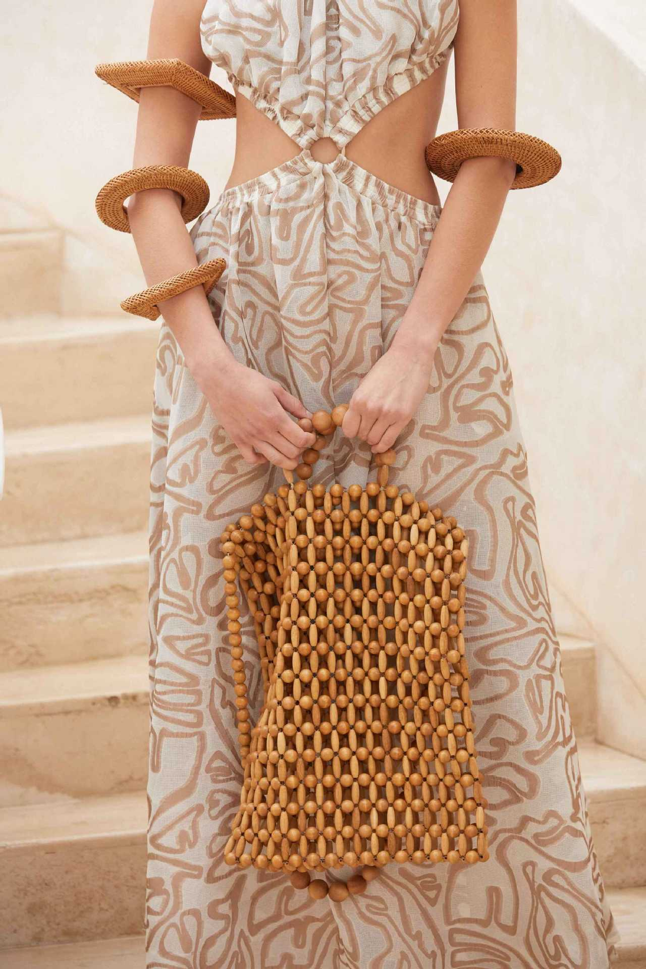 Vintage Hand-woven Handbag Natural Wooden Beads Shoulder Bag Bohemian Style Bamboo Beach Summer Fashion
