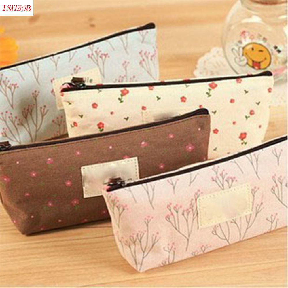 Flower Floral Pencil Pen Canvas Case Cosmetic Makeup Tool Bag Storage Pouch New student pencil pen cosmetic makeup brushes case makeup tool holder bag storage pouch makeup organizer canvas high quality