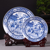 Jingdezhen Blue and white Twelve golden hairpins hanging ceramic decorative plate hanging plate decoration plate wall painting