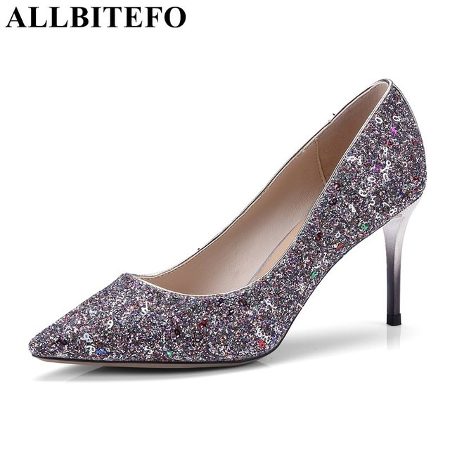 828616d24e26 ALLBITEFO 2018 new arrive Sequins high heel shoes girls Beautiful wedding  shoes pointed toe silver heel