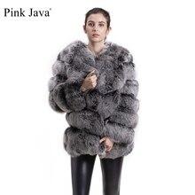 Różowy java QC8066 wysokiej jakości kobiety prawdziwe futro z lisów wihter ciepła gruba kurtka z futra lisa prawdziwy krótki płaszcz z futrem długie rękawy