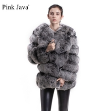 Rosa java QC8066 hohe qualität frauen echt fox pelz mantel wihter warme dicken fuchs pelz jacke echte pelz short mantel langen ärmeln