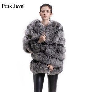 Image 1 - ורוד java QC8066 באיכות גבוהה נשים אמיתי שועל פרווה מעיל wihter חם עבה שועל פרווה מעיל אמיתי פרווה קצר מעיל ארוך שרוולים