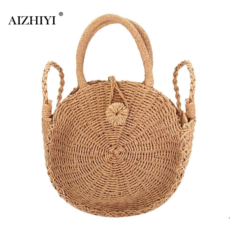 Women Rattan Woven Round Vintage Handbags Messenger Summer Beach Small Tote Shoulder Crossbody Bags S/ M / L 3 Sizes