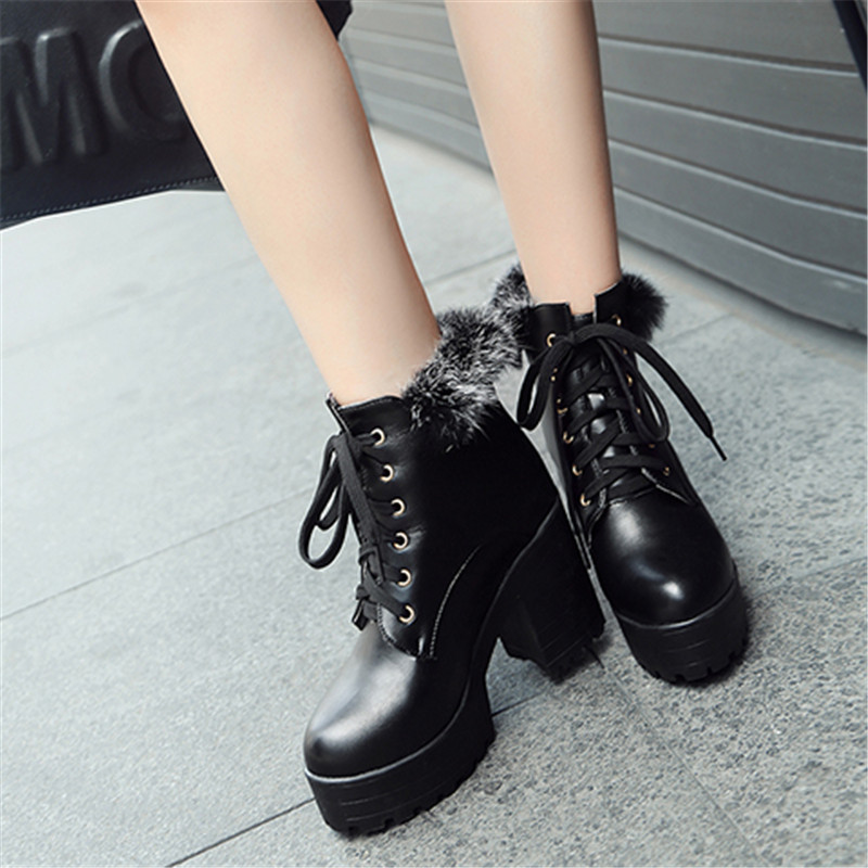 YMECHIC Block High Heel Boots Female Pink White Black Fur Tassel Punk Gothic  Ankle Combat Boots Women Lace Up Booties Big Size-in Ankle Boots from Shoes  on ... 8432fa317402