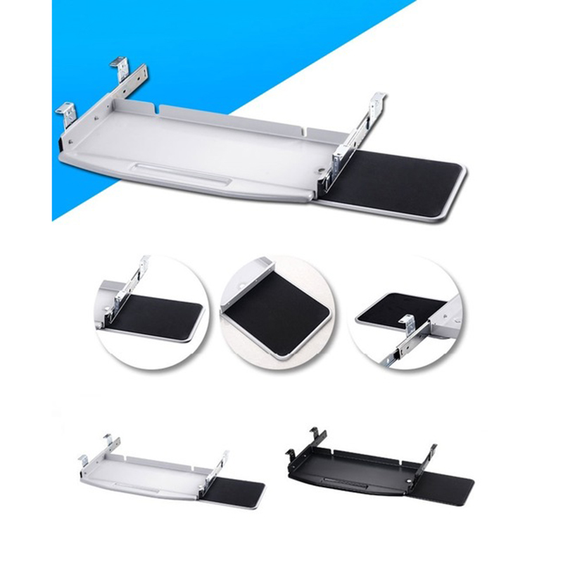 Pull-out Steel PC Keyboard Tray Pull Out With 360 Degree Rotation Mouse Tray