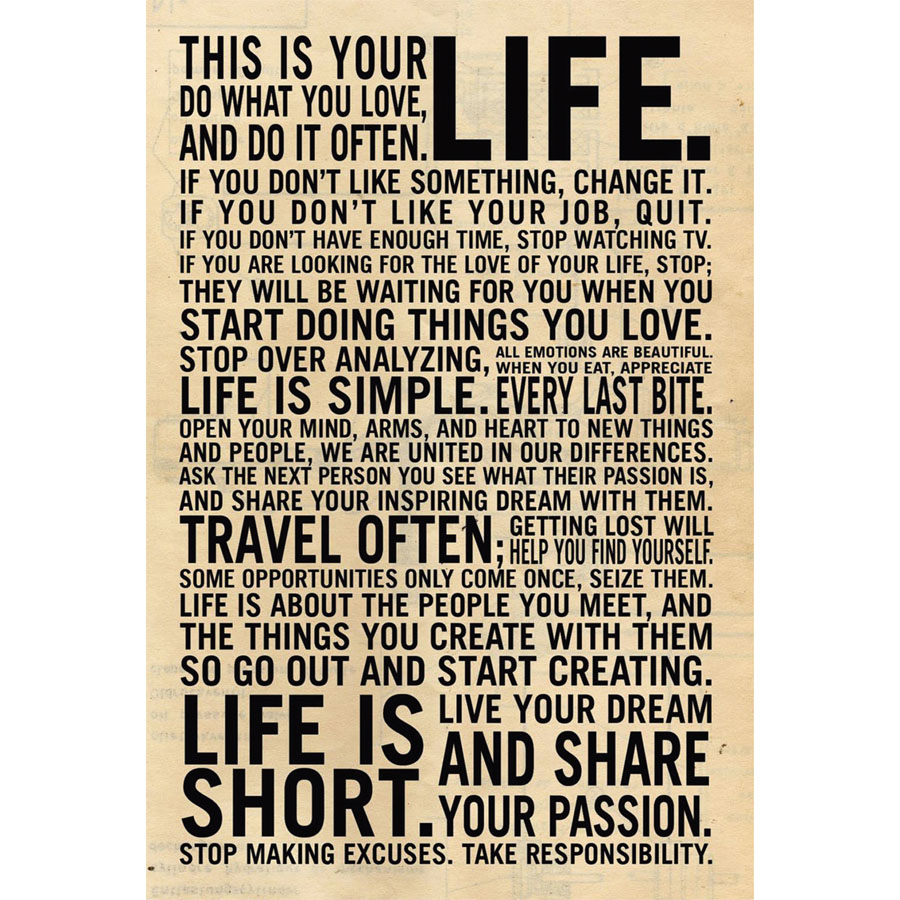 J1376-This Is Your Life Motivational Inspirational Quote Pop 14x21 24x36 Inches Silk Art Poster Top Fabric Print Home Wall Decor