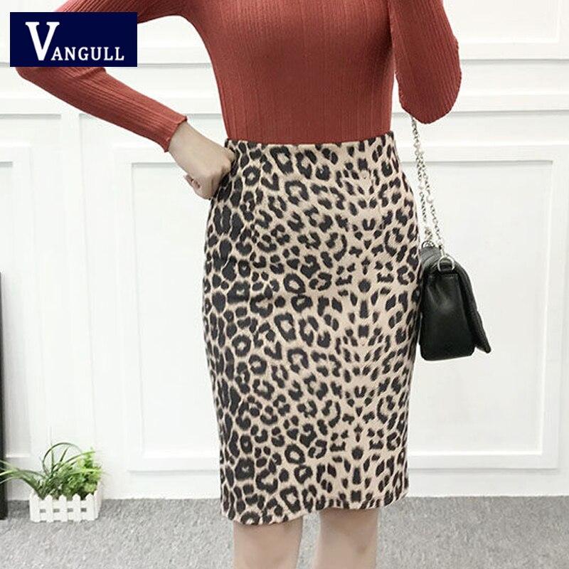 VANGULL Women Leopard Print Skirt 2019 Spring New Autumn Casual High Waist Female Plus Size Suede Slim Split Pencil Skirt