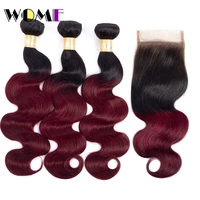 Wome Hair Ombre Bundles With Closure T1B/99J Peruvian Body Wave Human Hair 3 PCS With 4*4 Lace Closure Baby Hair Natural Line