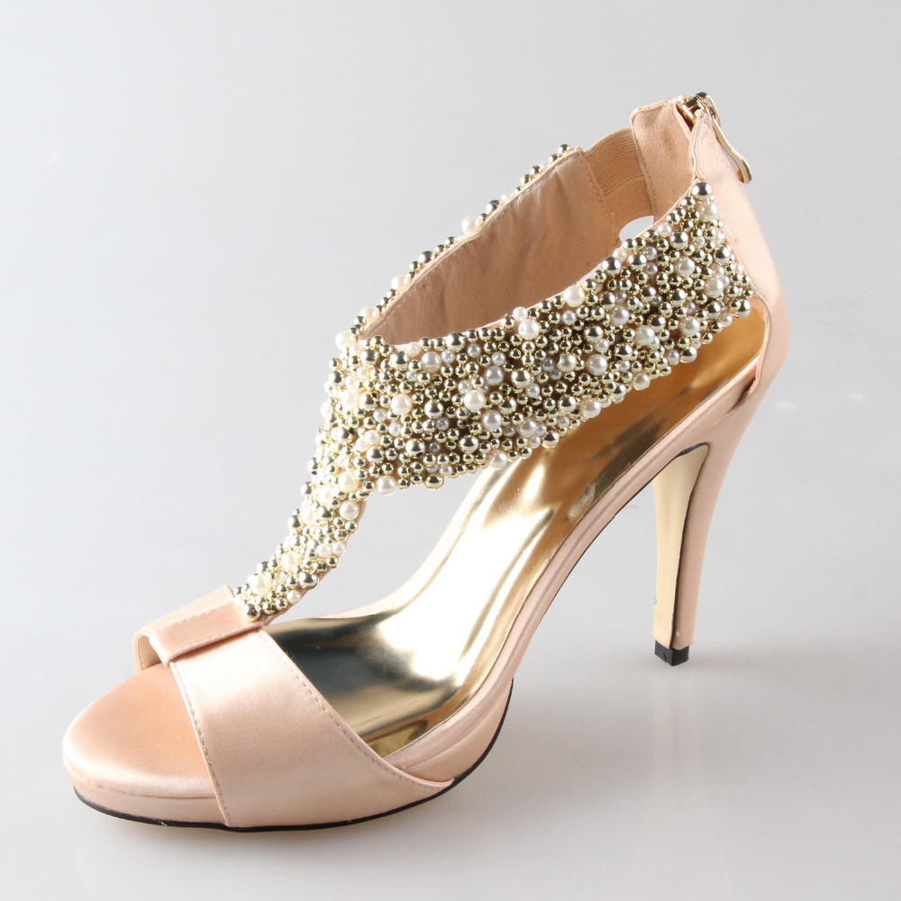 Handmade Champagne Color T Strap Satin Sandals With Sewed Pearl And Beads Platform Heels Zip Back Wedding Evening Party Shoes In Womens From
