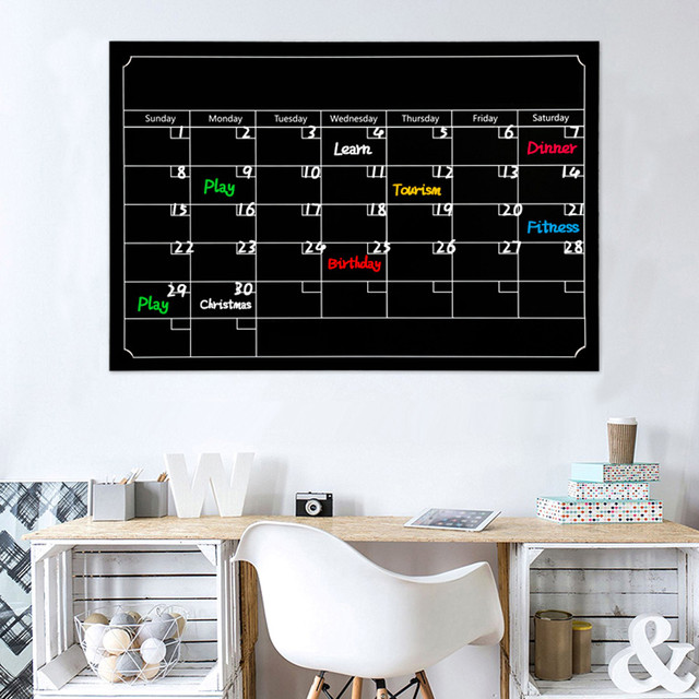 black dry erase board blackboard month magnetic calendar chalkboard