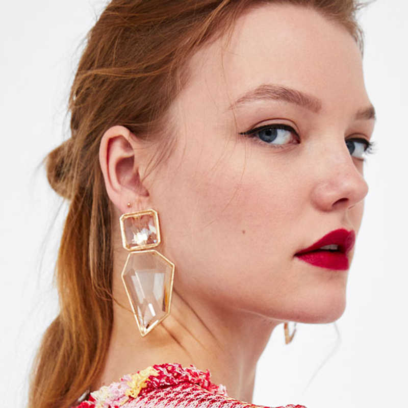 Trendy ZA Jewelry Colorful Stone Acrylic Drop Earring for Women Wedding Big Large Resin Statement Dangle Earring Wedding Brincos