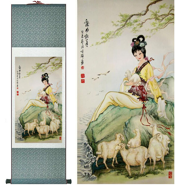 Pretty girl painting Chinese Art Painting Home Office Decoration Chinese painting art figure painting girl beside the river