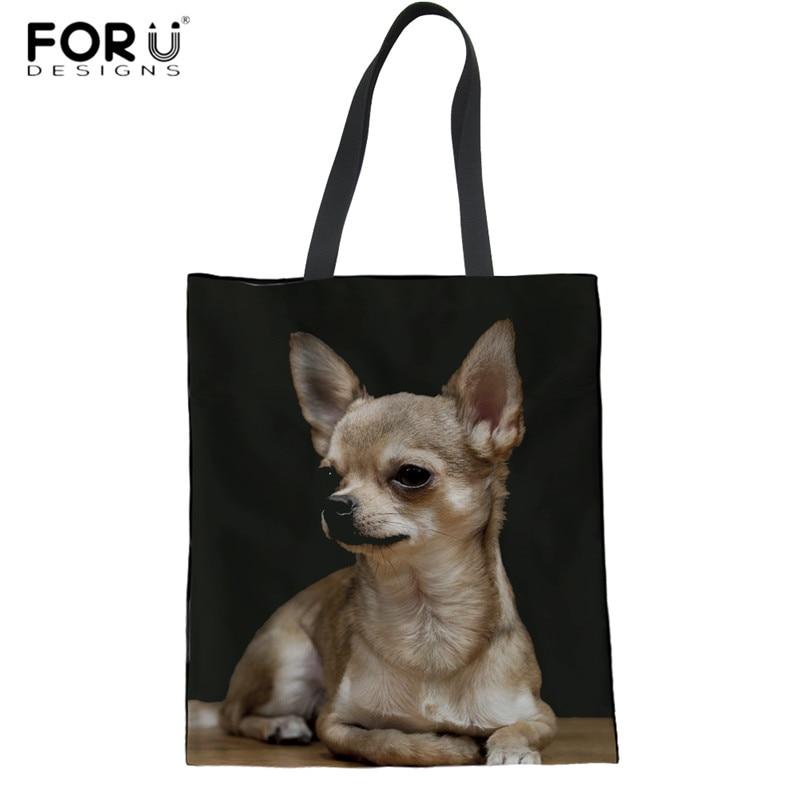FORUDESIGNS Youth Girls Linen Tote Bags Cute 3D Animal Chihuahua Women Eco-friendly Summer Beach Bag Durable Magazine Handbags