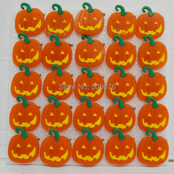 Free shipping 200pcs/lot soft rubber breast plate LED pumpkin Badge Brooch halloween Pins Party concert Favors holiday gift