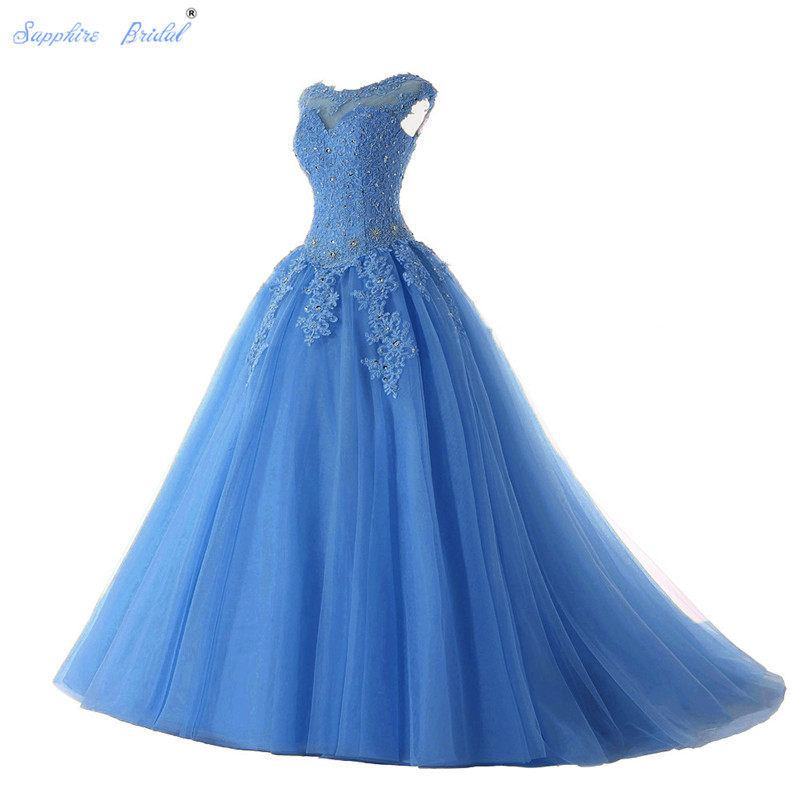 Saphir mariée longues robes De soirée Vestido De 15 Anos De Cap manches dentelle dos ouvert lilas menthe bleu perles Quinceanera robe