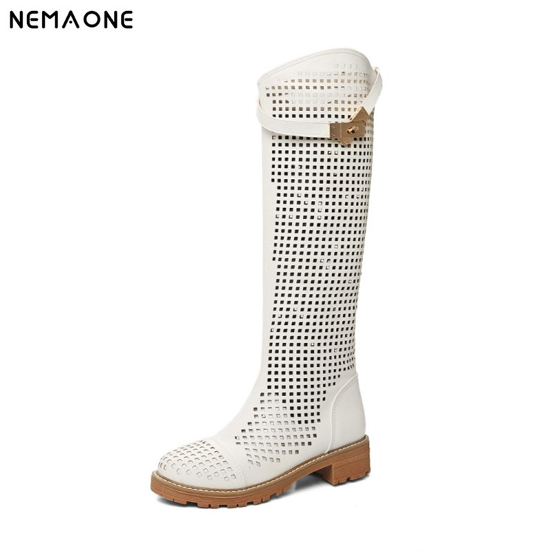 NEMAONE New Fashion rouned Toe Women Knee High Boots Thick Heels Sexy Cutout Boots Summer Cool Boots Women's Shoes 2017 new european and american romantic pop black magazine cool shoes sexy fashion hollow women boots fashion summer boots