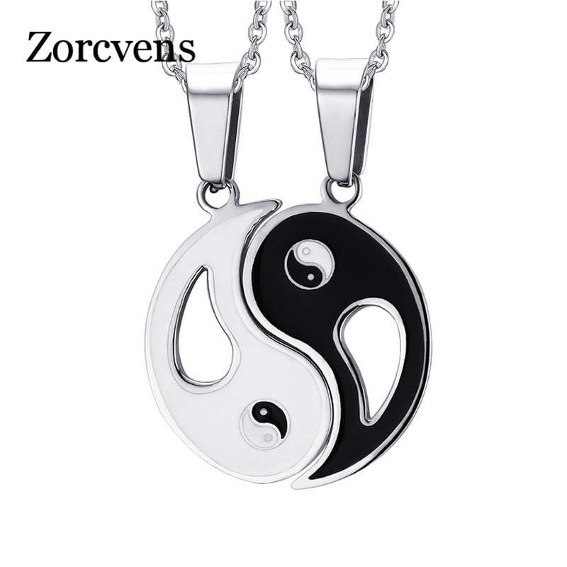 ZORCVENS Charm Pendant Necklaces Eight Diagrams Yin Yang Black and White Best Friends friendship Couples Lover Valentine Gift