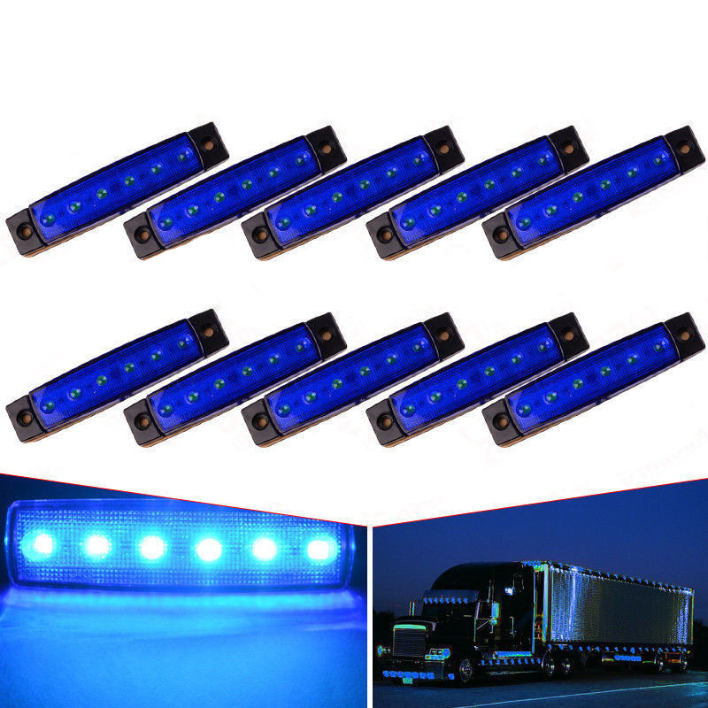 CYAN SOIL BAY 10PCS Blue 12V 24V 6 LED Bus Van Truck Trailer Side Marker Indicators Lights Lamp Bar cyan soil bay 10pcs 12v 24v 6led side marker indicators lights lamp for car truck trailer lorry 6 led amber clearence bus