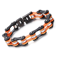 Stainless Steel Bracelet Biker Bracelet Shamballa Beads Orange Black Link Chain Bracelets Bicycle Motorcycle Sport Female