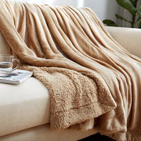 Yazi Fashion Sherpa Blanket Warm Thick Throw Coverlet Reversible Double Layer Cashmere Fuzzy Microfiber Quilt Bed