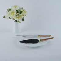 Golden Color Handle Cutlery Set, 1pc Cake Knife & 1pc Server, 8inch Long Knife For Wedding Cake, Gift Box Packing & Free Shippin