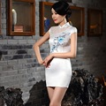 2017 Spring Summer Short Sleeve Hand-painted Silk Cheongsams Fashion Retro Chinese Style Qipao Orchid  ZA880