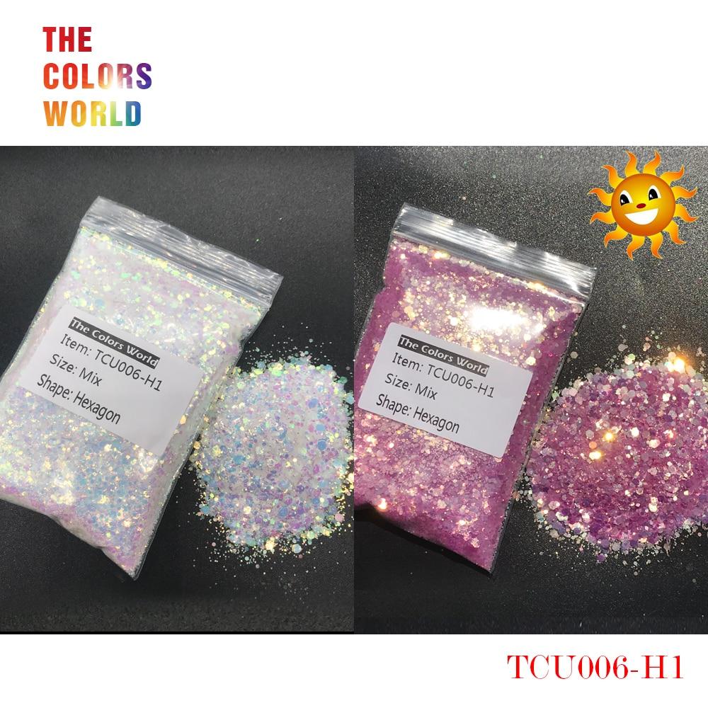 TCT-240 Luz Ultravioleta UV Glitter Hexagon Forma Tamanho Mix Prego Brilho Decoração de Unhas Unhas de Gel Maquiagem DIY Acessórios De Henna