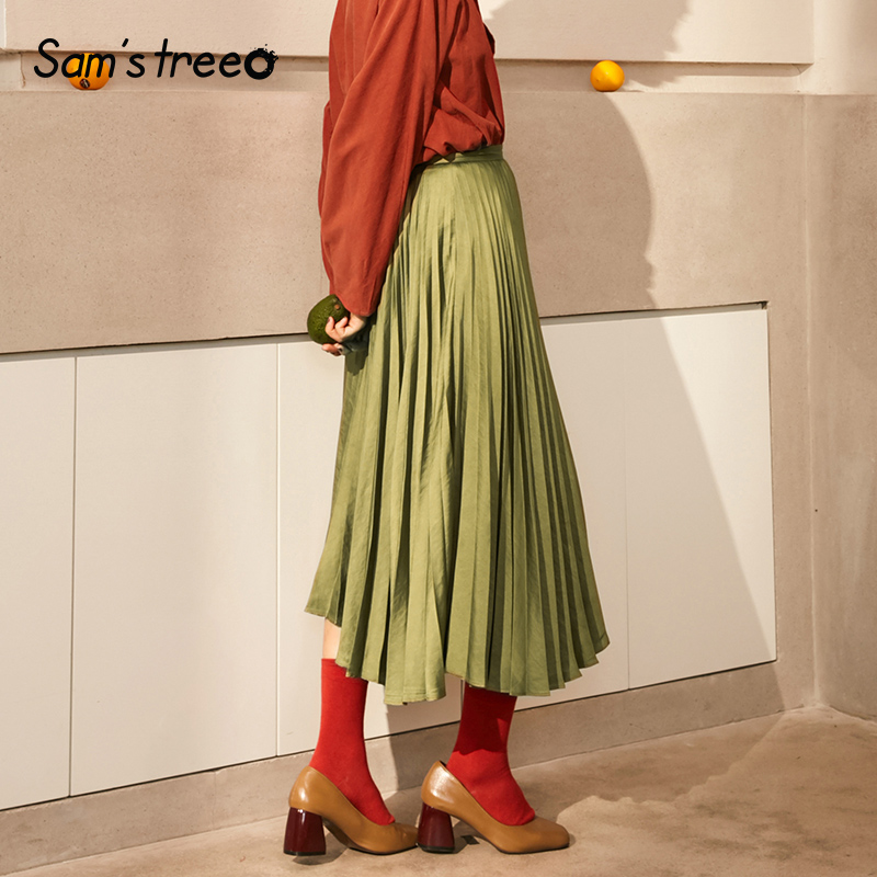 Samstree Autumn Winter Women Pleated Skirt Mid Calf A Line Solid Color Vintage Loose Female Skirt
