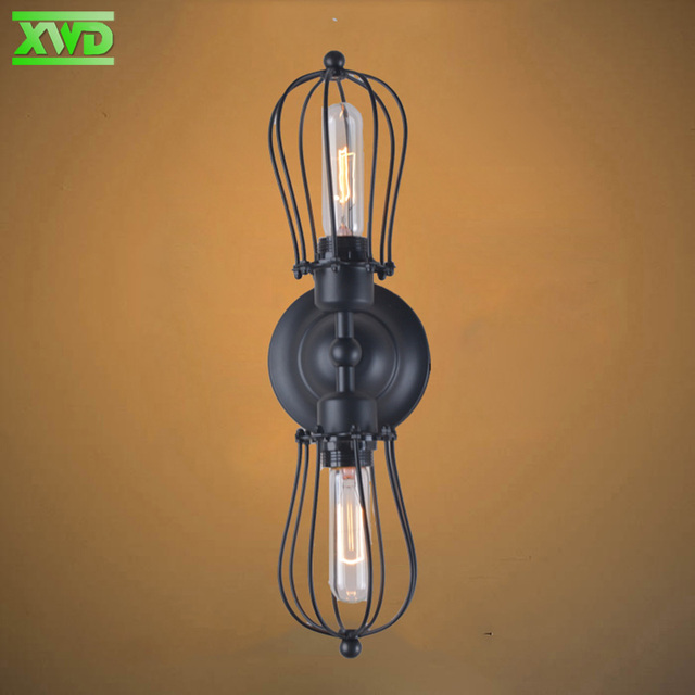 Vintage Iron Frame Wall Lamp Industry/Club/Dining Hall/Foyer/Shop Iron Lighting E27 Lamp Holder 110-240V Free Shipping