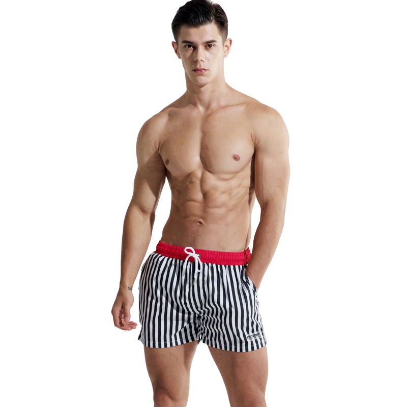 2018 Desmiit Surfing Beach Shorts Men's Board shorts Patchwork Bermuda Surf Swim Short Pants Quick Dry striped Swimwear Male