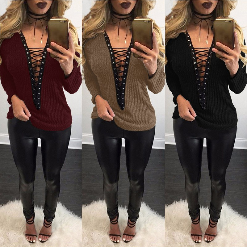 Top ZANZEA Women Sweater 2019 Autumn Sexy Knitted Sweters Thin Knitwear Lace Up V Neck Hollow Out Long Sleeve Sweaters Plus Size