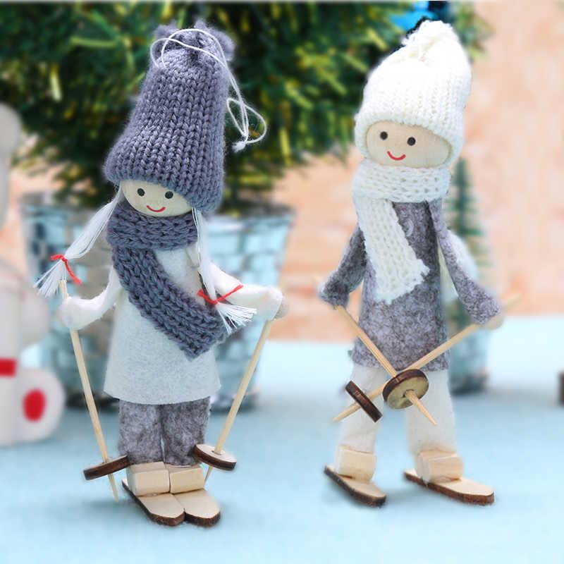 Śliczny anioł bożonarodzeniowy elfka chłopiec pluszowa lalka narciarski wisiorek drzewo ozdoby świąteczne dekoracje do domu Natal Noel 2018