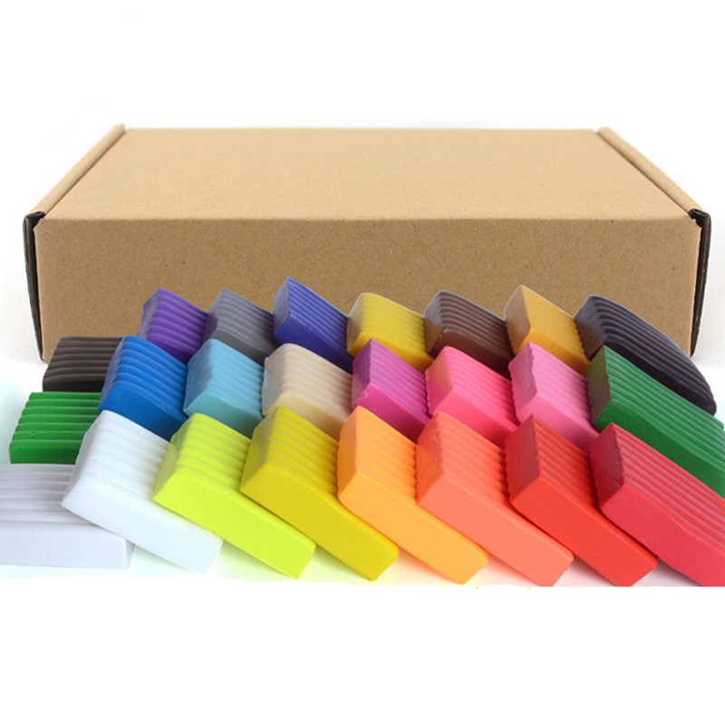 24 Colors Diy Handmade Clay Mud Polymer Clay Modeling Clay Block Playdough Kids Plasticine Toys Oven Bake Porcelain Tools
