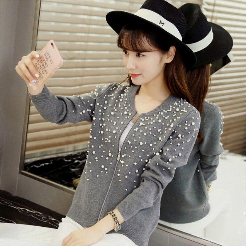 Automne hiver piste chandails Cardigans femmes de luxe tricoté chandail de noël Hiqh qualité perle perles Cardigans Feminino hauts - 3