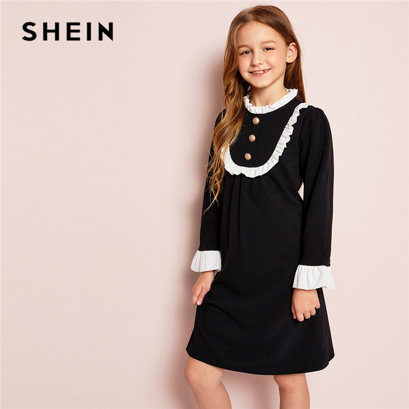 SHEIN Kiddie Stand Collar Ruffle Colorblock Frill Button Girl Party Dress Girls Clothing 2019 Long Sleeve Preppy Kids Dresses
