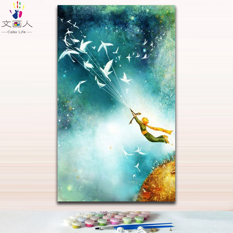 US $8 45 OFF DIY Painting By Numbers Princekin And Fox Little Prince Star Rose Picture Coloring Paints By Numbers With Kits For Wall Decor Paint By