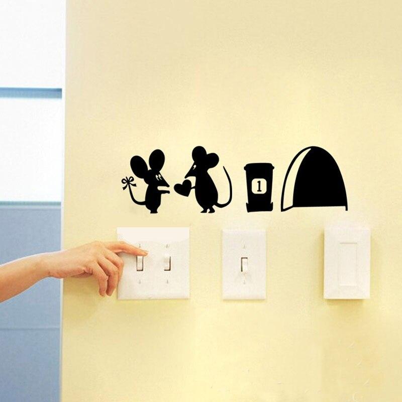 2 pcs Fashion Cute Mouse Love Heart Wall Art Sticker Vinyl Decal Wall  Sticker Decor decoracion