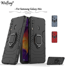 For Samsung Galaxy A60 Case Armor Metal Finger Ring Holder Phone Back Cover Fundas *