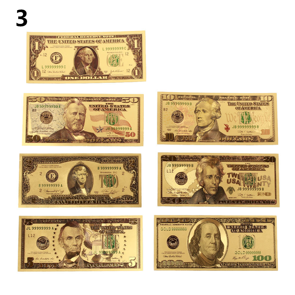 Nordic 24K Gold Plated Dollars Banknotes Gifts Home Decoration Coin Fake Money Souvenir Commemorative Notes USA 7PCS/Set