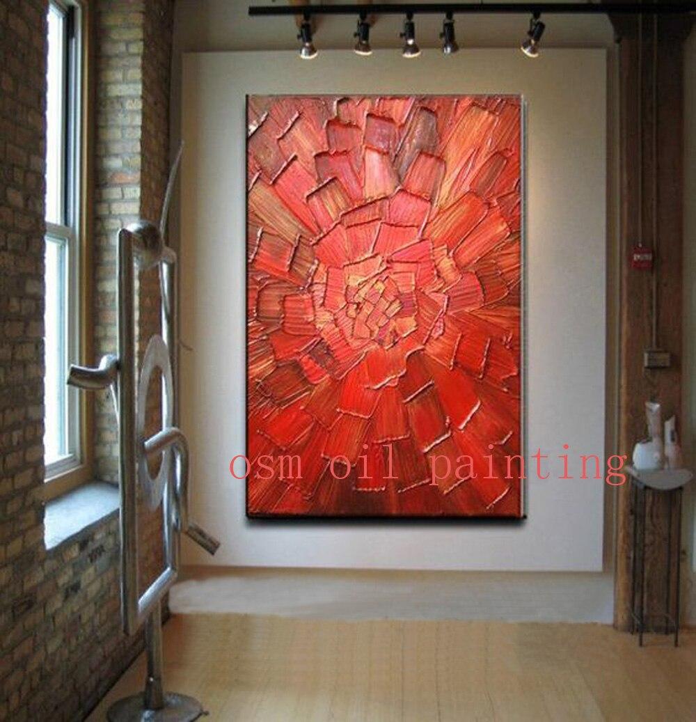 Ручная работа Современная абстракция красный цветок палитра нож картина маслом на холсте гостиная декоративная ручная роспись стены Искус...