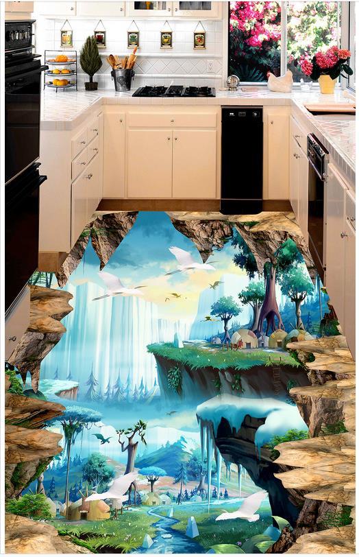 Benutzerdefinierte Foto Selbstklebende 3d Boden Wald 3d Tapete Stock
